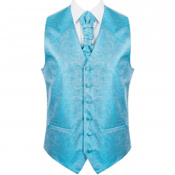 Turquoise Modern Scroll Formal Waistcoat #AB-WW1002/2