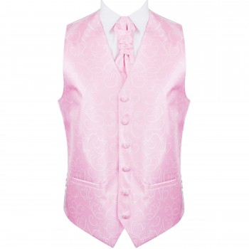Light Pink Modern Scroll Wedding Waistcoat #AB-WW1002/3