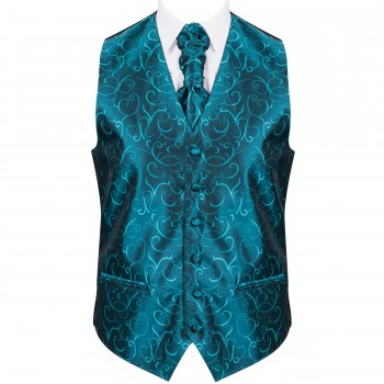 Teal Modern Scroll Formal Waistcoat #AB-WWA1002/5