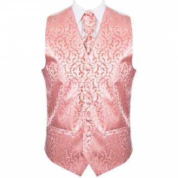Coral Vintage Vine Formal Waistcoat #AB-WW1004/2