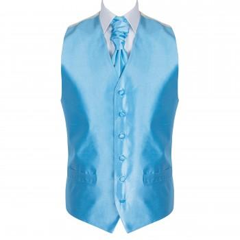 Baby Blue Shantung Wedding Waistcoat #AB-WWB1005/5