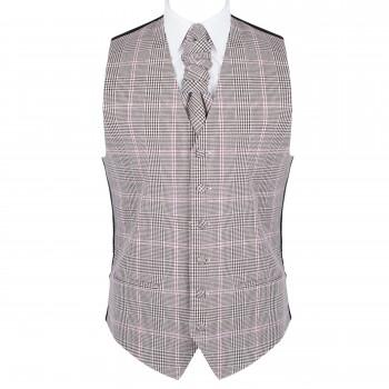 Brown Check Waistcoat #AB-WWA1007/4