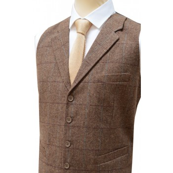 Brown Herringbone Tweed Tailored Waistcoat #WW112/2