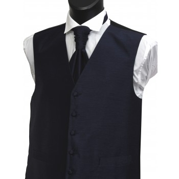 Navy Blue Shantung Wedding Waistcoat #WW1864/3