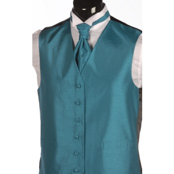 Teal Blue Shantung Wedding Waistcoat #WW1867/2