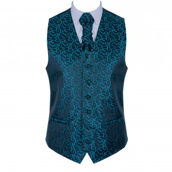 Teal on Black Royal Swirl Waistcoat #AB-WWA1001/12