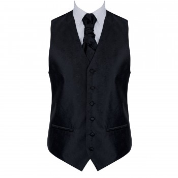 Black on Black Budding Paisley Formal Waistcoat #AB-WWA1003/4