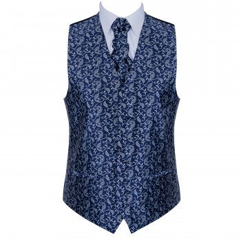 Moonlight Navy Budding Paisley Formal Waistcoat #AB-WWA1003/7