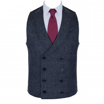 Charcoal Double Breasted 100% Wool Shawl Waistcoat #AB-WWC1008/1