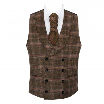 Brown Overcheck Double Breasted Shawl Wool Waistcoat #AB-WWC1020/1