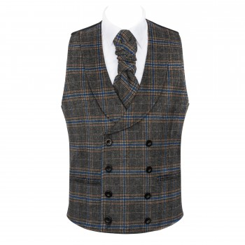 Grey Overcheck Double Breasted Shawl Wool Waistcoat #AB-WWC1020/2