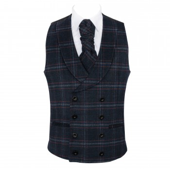 Navy Blue Overcheck Double Breasted Shawl Wool Waistcoat #AB-WWC1020/3