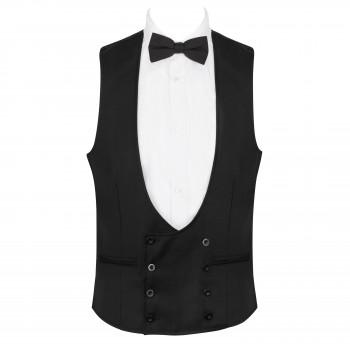 Black Tuxedo Waistcoat, 100% Wool