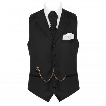 Black Collared Rever Waistcoat, 100% Wool #AB-WWE1011/1