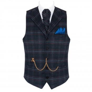 Navy Blue Overcheck Collared Wool Waistcoat #AB-WWE1020/3