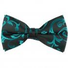 Teal on Black Swirl Leaf Wedding Bow Tie #AB-BB1000/2