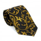 Gold on Black Swirl Leaf Tie #AB-T1000/15