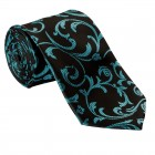 Teal on Black Swirl Leaf Wedding Tie #AB-T1000/2