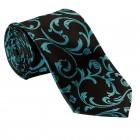 Teal on Black Swirl Leaf Wedding Tie #AB-T1000/2