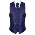 Purple on Black Swirl Leaf Formal Waistcoat #AB-WWA1000/14