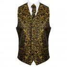 Gold on Black Swirl Leaf Formal Waistcoat #AB-WWA1000/15