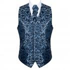 Morning Blue on Black Swirl Leaf Wedding Waistcoat #AB-WWA1000/17