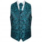 Teal on Black Swirl Leaf Wedding Waistcoat #AB-WWA1000/2