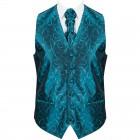 Teal Modern Scroll Formal Waistcoat #AB-WWA1002/5