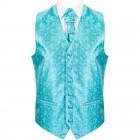 Teal Budding Paisley Wedding Waistcoat #AB-WWA1003/3